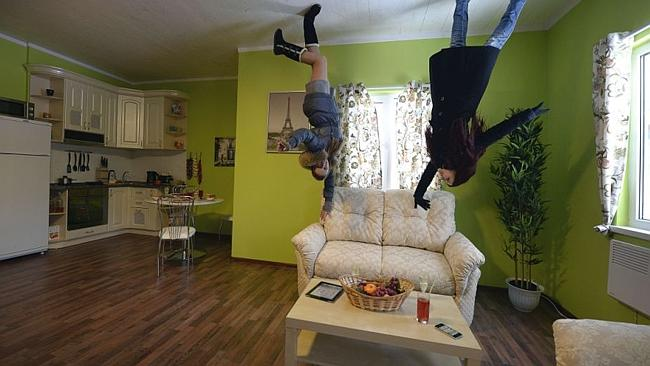 Visitors can tour the home and feel like they're defying gravity. Picture: AFP.