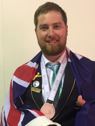 Bradley Ingham picked up silver for industrial mechanical millwright. Picture: Monique Hore