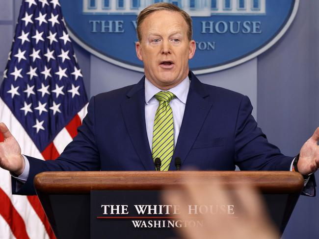 "White House press secretary Sean Spicer speaks said Donald Trump was ""unbelievably disappointed"" with the refugee deal. Picture: AP"