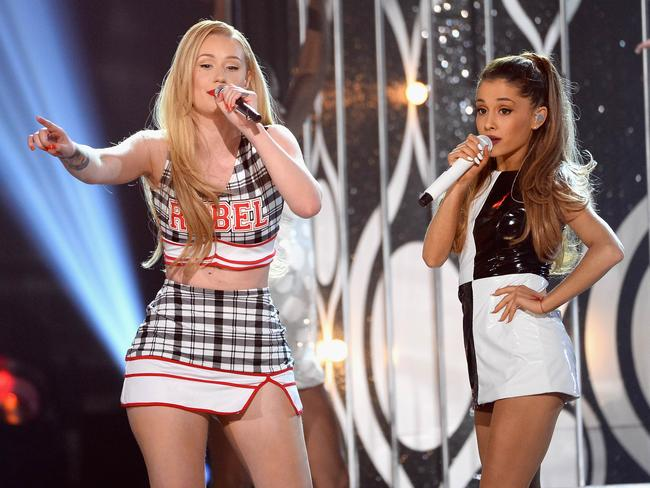 Iggy Azalea (L) and Ariana Grande perform onstage during the 2014 Billboard Music Awards. Picture: AFP