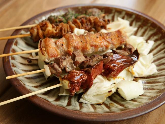 "<b>Chicken heart, skin and gizzard yakitori:</b>  <a href=""http://chacobar.com.au/"" target=""_blank"">Chaco Bar, East Sydney </a>"