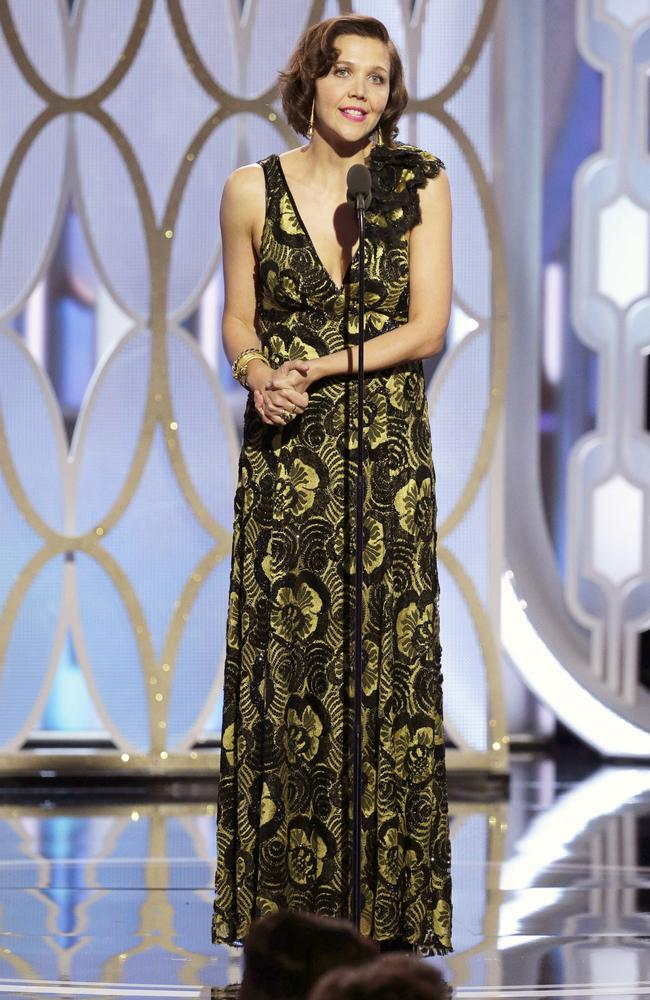 Presenter Maggie Gyllenhaal speaks onstage during the 73rd Annual Golden Globe Awards at The Beverly Hilton Hotel on January 10, 2016 in Beverly Hills, California. (Photo by Paul Drinkwater/NBCUniversal via Getty Images)