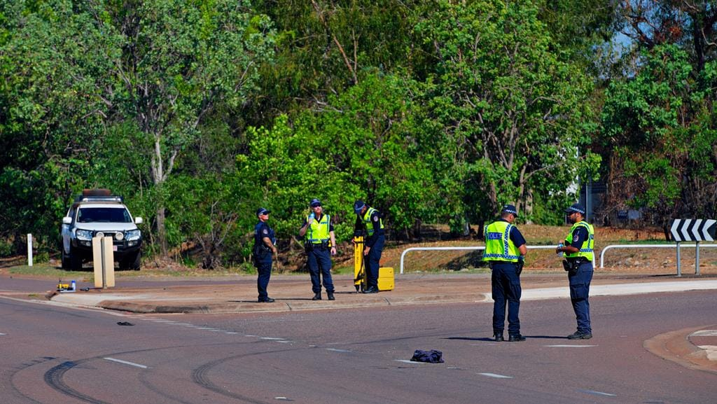 N  <s1>  kid marks can be seen near where a pedestrian, 42, was hit by a car on the Stuart Hwy on Thrusday.  </s1>  <source></source>Picture: MICHAEL FRANCHI  <source></source>