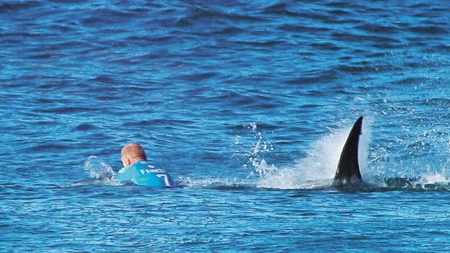 Mick Fanning is attacked by a shark while surfing at J-Bay.