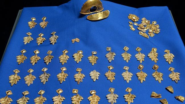 Cloak of office ... These gold ornaments and clasps are believed to have come from a Roman official's formal vestments.