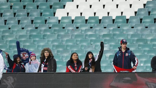 There were embarrassingly few fans at the Roosters v Titans match