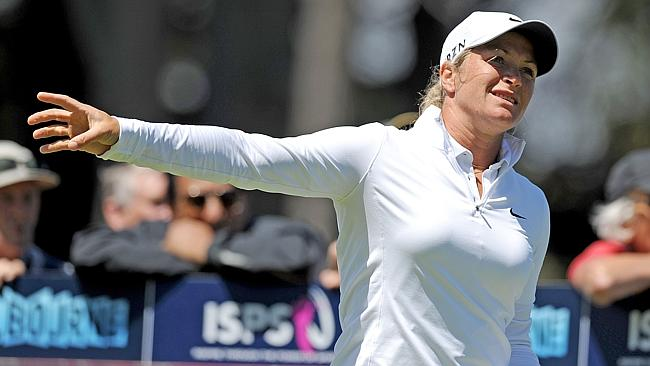 Suzann Pettersen reacts after a bad tee shot at the second hole, setting the tone for her day.