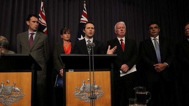 Justice Minister Jason Clare speaking at a press conference after the release of an ACC report into drug and crime links to Australian sport. Picture: Gary Ramage