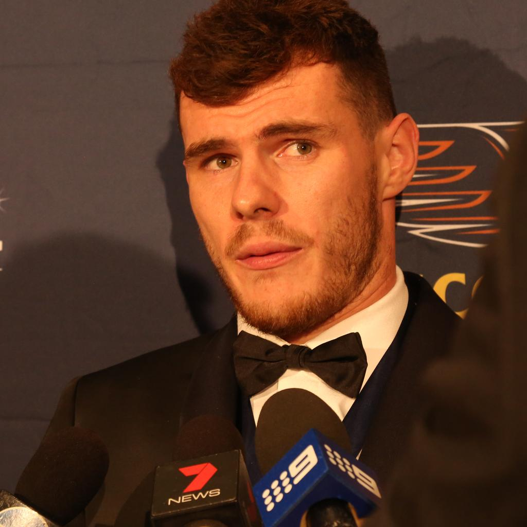 John Worsfold Medal Winner Luke Shuey, who topped the club poll with 157 votes, ahead of Josh Kennedy and Andrew Gaff. Picture: Bohdan Warchomij