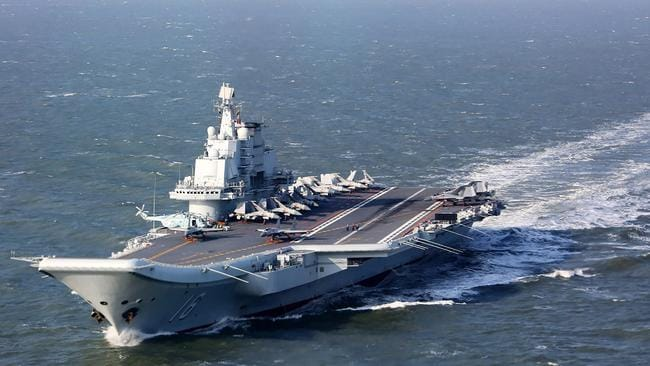 This is the Liaoning aircraft carrier, which China moved into the Taiwan Straits.