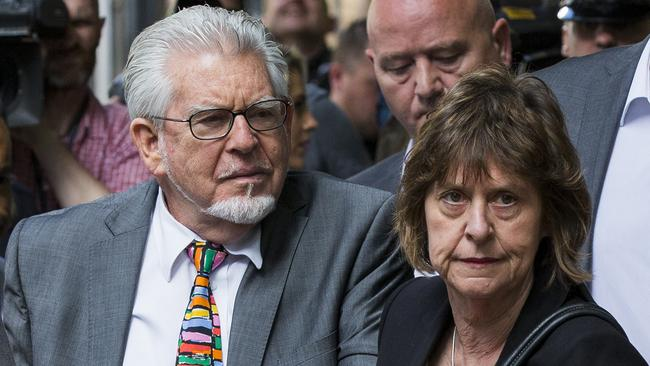 Facing his fate ... Rolf Harris accompanied by his niece Jenny at Southwark Crown Court in London. Picture: Tristan Fewings