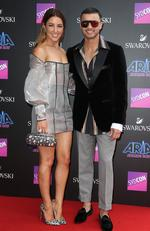 Jules and Guy Sebastian pictured arriving at the 2017 ARIA Awards held at The Star in Pyrmont in Sydney. Picture: Richard Dobson