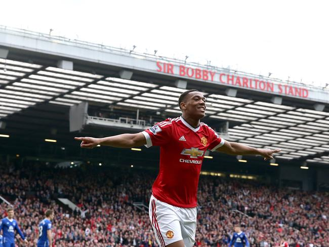 Manchester United's Anthony Martial celebrates scoring his side's first goal.
