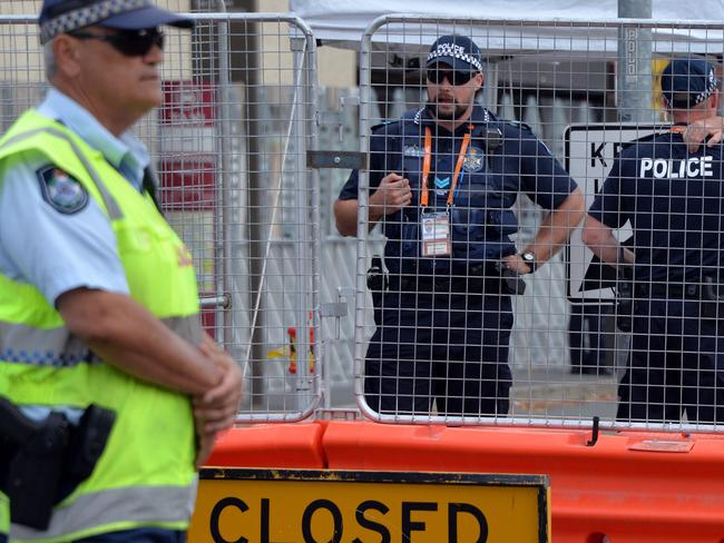 No chances ... Queensland police stand guard at one of the entry points of the Brisbane Exhibition and Convention Centre on November 13, ahead of the G20 Summit. Picture: AFP