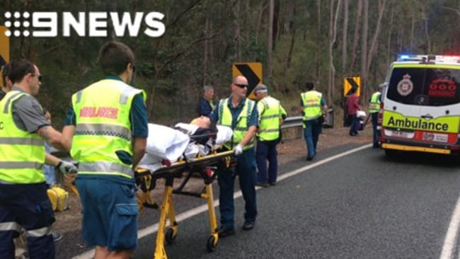 Bus and 4WD crash in the Gold Coast Hinterland. Picture: Nine News Gold Coast/Twitter