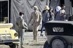 Actors Leonardo DiCaprio (R) and Tobey Maguire (L) on the set of the Baz Luhrmann film 'The Great Gatsby' at White Bay Power Station in Rozelle, Sydney. Picture: Brad Hunter
