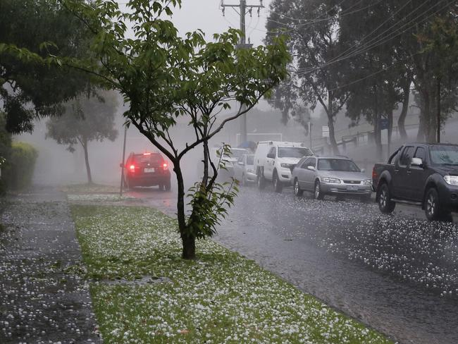 The hailstorm hits Templestowe. Picture: David Caird