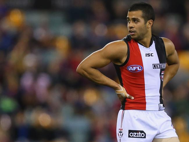 Ahmed Saad of St Kilda looks on during the Round 19 match against the Brisbane Lions at The Gabba in 2013. Photo by Chris Hyde