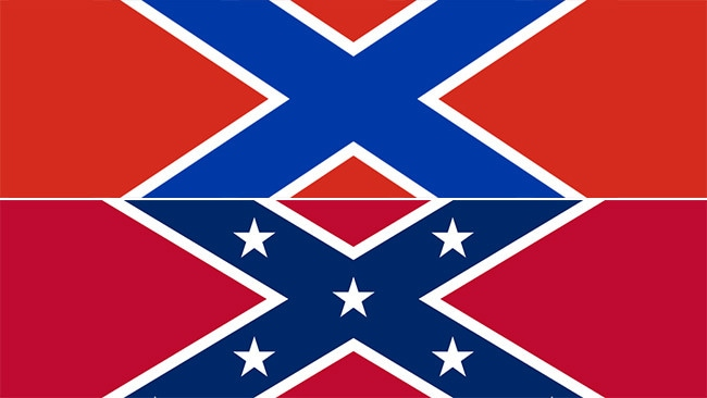 The Novorussiya flag (top) is pretty much the confederate flag (bottom) without the stars.