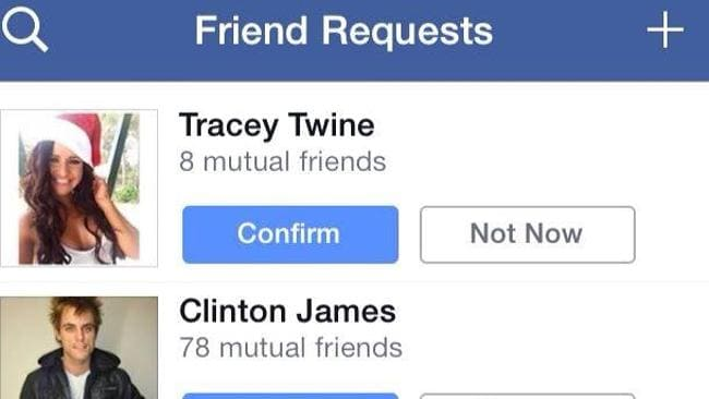 The friend request from a 'Tracey Twine' using Jessica Steven's profile picture