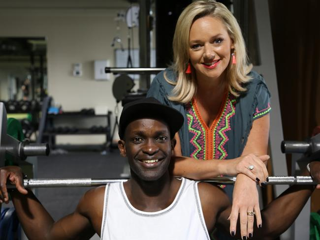 Psychologist Sabina Read helping career changer Isaac Coll on the set of Dream Job. Picture: Supplied