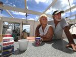 Cooktown residents John and Patricia Stapyra in their roofless house,