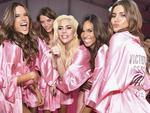 Alessandra Ambrosio Leomie Anderson, Lais Oliveira, Lady Gaga, Jasmine Tookes and Valery Kaufman pose backstage prior to the Victoria's Secret Fashion Show on November 30, 2016 in Paris, France. Picture: Getty