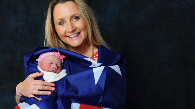 Sadie Grace Jackson, with mum April, is Geelong's first baby for Australia Day 2015.