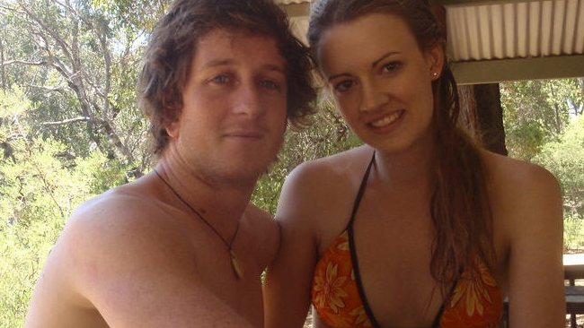 Shark victim Ben Linden, 24, and girlfriend Alana Noakes. Picture: Facebook