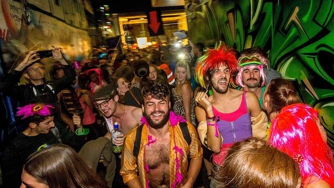Revellers party in Union Lane. Picture: Hamish Blair