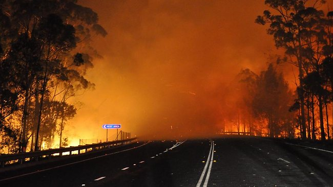 Deans Gap fire in Shoalhaven crossing Princes Highway.