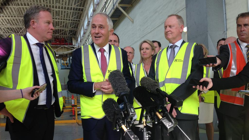 Prime Minister Malcolm Turnbull speaks about Hydro Tasmania at Trevallyn Power Station in Launceston. Picture: Matt Thompson