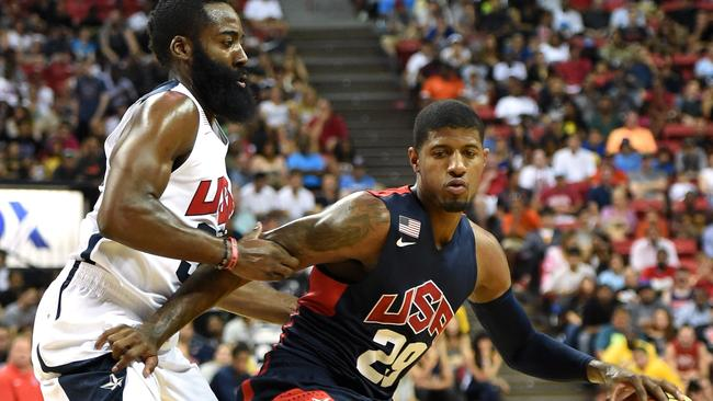 James Harden and Paul George of the 2014 USA Basketball Men's National Team during their practice match.