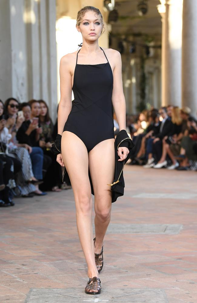 Better than Havaianas! At least Gigi Hadid was dressed for the beach. Picture: Venturelli/WireImage