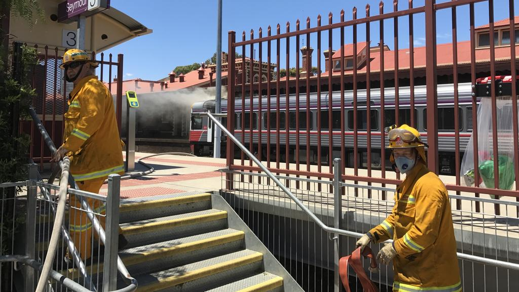 Authorities are investigating how a V/Line sprinter train caught fire at Seymour railway station. Picture: Supplied