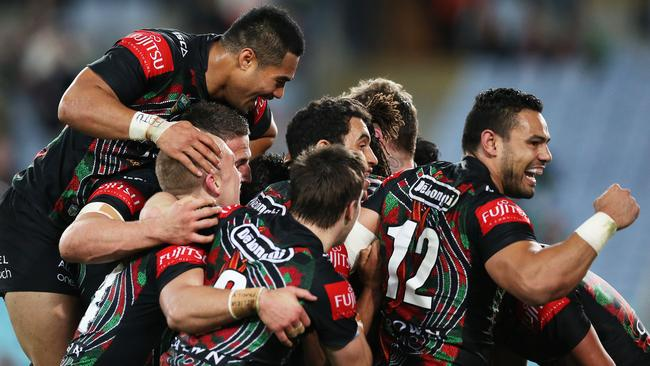South Sydney celebrate Lote Tuqiri try.