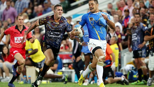 NRL All Stars fullback Jarryd Hayne sprints clear of Joel Thompson to score his side's opening try. Picture: Peter Wallis