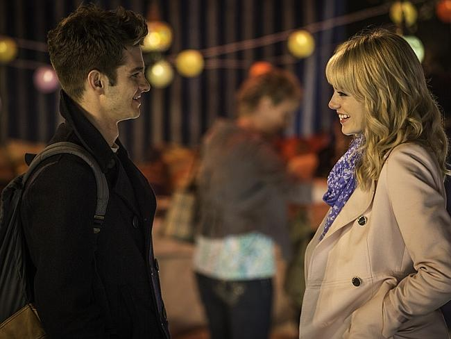 On screen together .... Andrew Garfield and Emma Stone in The Amazing Spider-Man 2: Rise of Electro