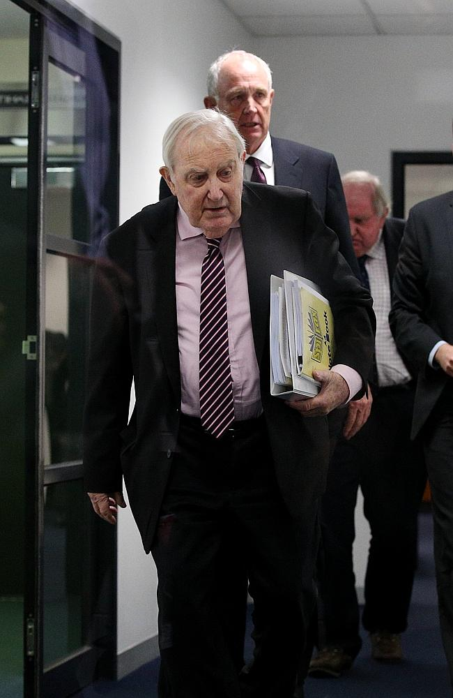 AFL appeals board chairman Peter O'Callaghan leaves AFL House after the Jack Viney hearin