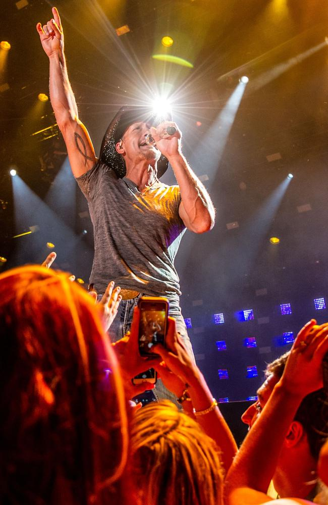 Tim McGraw performs at the CMA Music Festival in Nashville, Tennessee in June, 2014.