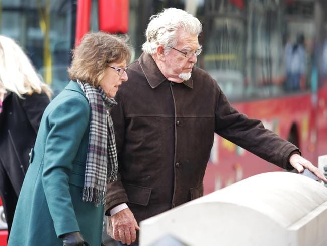 Rolf Harris with his niece, Jenny, who has supported him throughout his court appearances. Picture: Ella Pellegrini