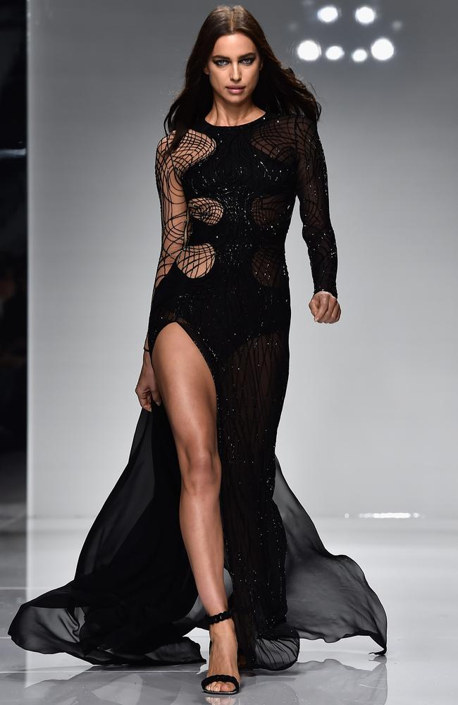 Glam goth ... Irina Shayk wearing Versace. Picture: Getty Images