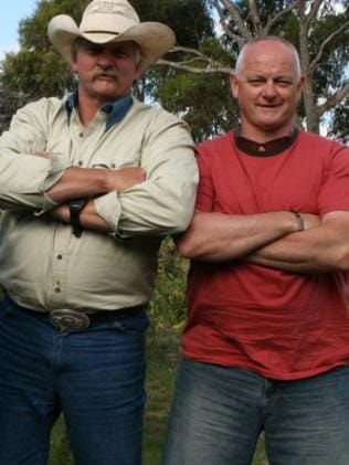 Peter Prideaux with his missing brother David Prideaux (right), the former boss of Barwon Prison.