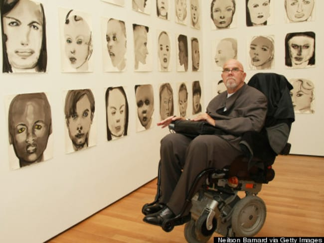 Chuck Close breaks up his day between morning and evening.