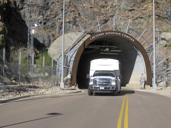 A crew bus leaves the Cheyenne Mountain Air Force Station complex outside Colorado Springs. Picture: AP/Dan Elliott
