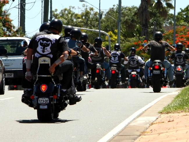 Black Uhlans and Nomads bikies riding on the Gold Coast where outlaw gangs proliferate. Picture: News Corp.