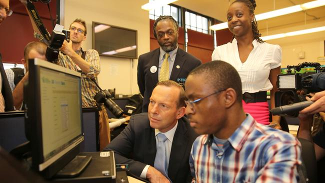 Learning along the way ... Tony Abbott visitsthe Pathways in Technology Early College High School in Brooklyn. Picture: Josh Wilson / Office of The Prime Minister