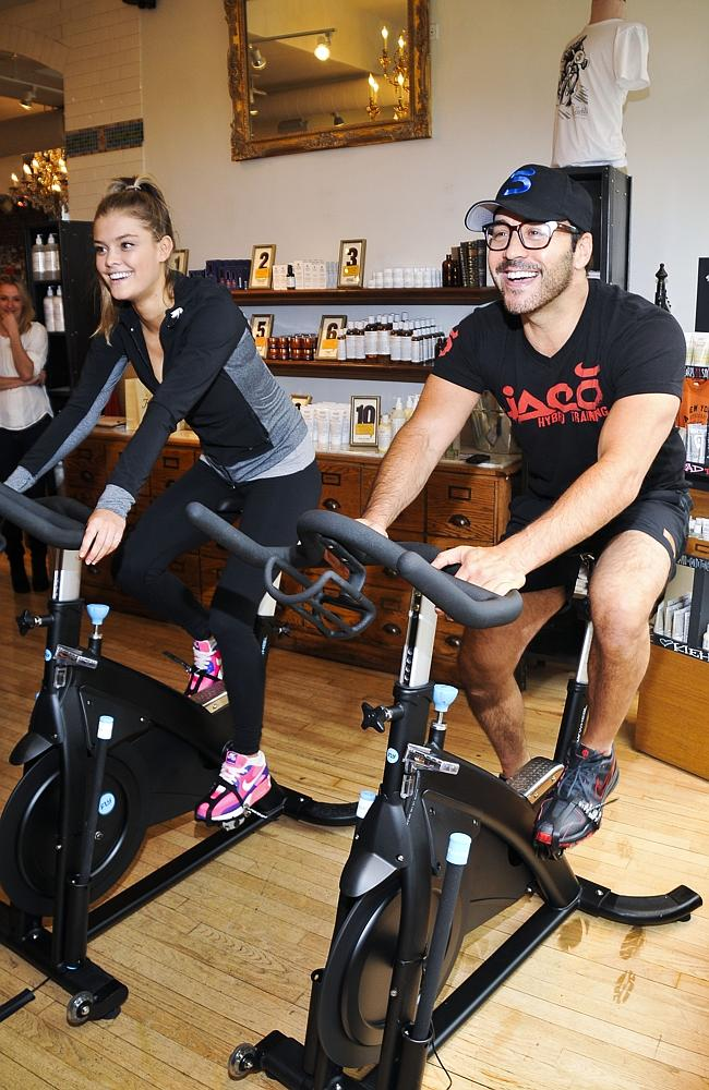 Work Out ... Nina Agdal and Jeremy Piven attend the Kiehl's Ride For Charity in New York