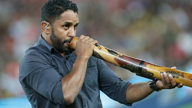 Preston Campbell on the didgeridoo before the game. Picture: Peter Wallis