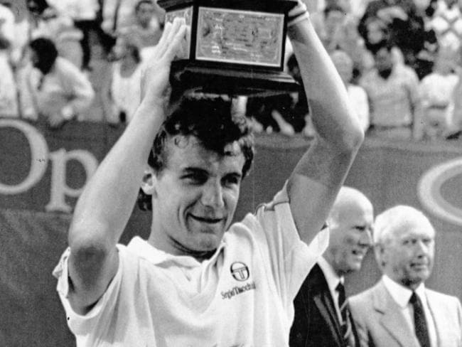 Motivator ... Sweden's Mats Wilander with his Australian Open trophy after defeating Pat Cash in 1988